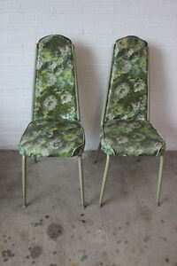 Vintage Pair 1960 S Kitchen Dining Room Green Floral Chairs Mid Century Modern
