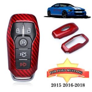 Real Carbon Fiber Car Key Holder Cover Red Fits Ford Mustang 2015 16 18 Parts