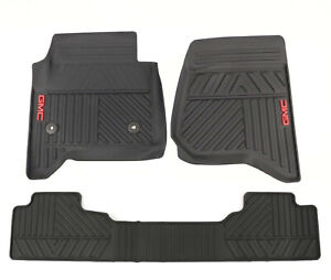 Oem Gm Black Front And Rear All Weather Floor Mats With Logo For 2014 19 Sierra