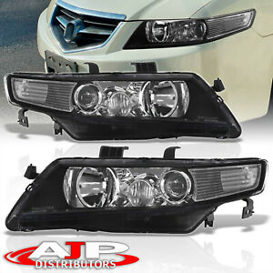 Replacement Black Housing Clear Headlights Lamps Pair For 2004 2008 Acura Tsx