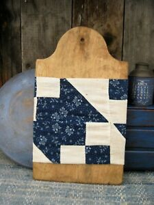 Antique Wood Tombstone Bread Cutting Board W Antique Blue Quilt Sleeve