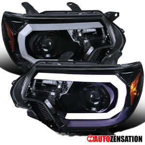 For 2012 2015 Toyota Tacoma Glossy Black Smoke Projector Headlights Led Drl Bar