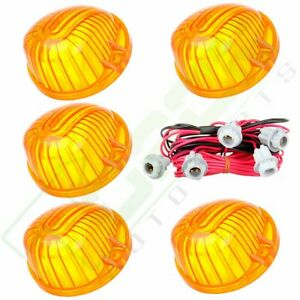 5x 9069a Amber Cab Marker Clearance Light Cover T10 Socket Wire For Gmc Chevy