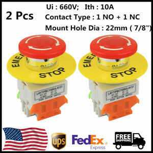 2pcs Red Mushroom Cap 1no 1nc Dpst Emergency Stop Push Button Switch 4 Pins