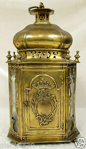 Antique European Brass Oil Lantern Lamp Octagonal Electrified Crown Leaves