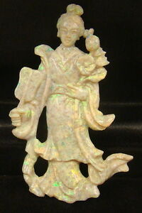 Carved Opal Kwan Kuan Yin Guanyin 3 Inches Tall 13 5 Grams