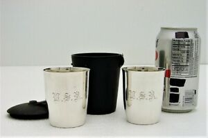 Gorham Sterling Silver Travel 2 Cup Set With Leather Holder Style A5675 17