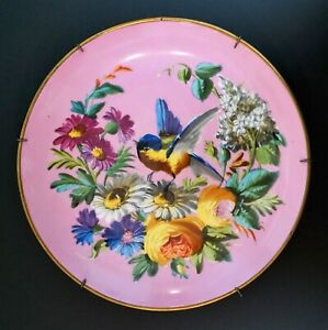 Antique Old Paris Porcelain 10 1 2 Wide Hand Painted Pink Blue Bird Charger