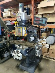 Nice Bridgeport Mill Vari Speed Chrome Ways Dro 3 Power Feeds 2 Hp Power Drawbar