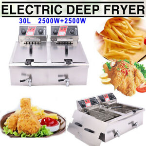 30l Commercial Deep Fryer W Timer Drain French Frys Fast Food Electric Cooker