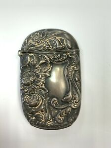 Antique Victorian Solid Sterling Silver Repousse Match Vesta Case With Flowers