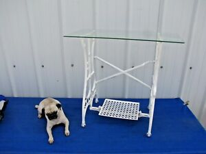 Vintage Antique White Treadle Sewing Machine Cast Iron Table Base With Glass Top
