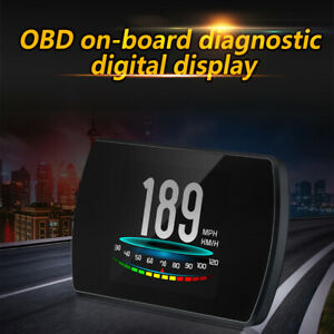 4 3 P12 Car Hud Head Up Display Obd2 Digital Speed Warning Meter Rpm Ma1622