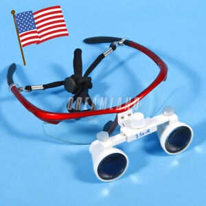 Usa Dental Surgical Loupes 3 5x 420mm Optical Glass Magnifying For Dentists Red