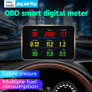 3 Obd2 Car Vehicle Hud Mph Kmh Lcd Digital Tachometer Head Up Display Ma1900