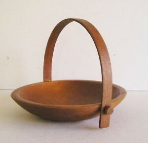 Mid Century Modern Wood Bowl With Handle Eames Era