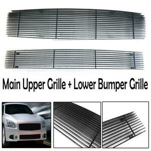 Front Upper Bumper Lower Billet Grille Grill Combo For Nissan Maxima 2009 2014