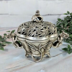 Antique Chinese Silver Toned Dragon And Bamboo Patterned Signed Incense Burner