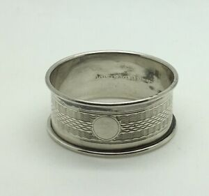 Sterling Silver Napkin Ring Engine Turned No Monogram Blank Cartouche