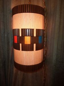 Vtg Mid Century Mod Hanging Swag Pendant Lamp W Stained Glass Effect Hans