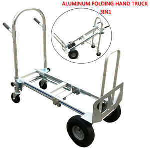 Folding Hand Truck Convertible Dolly Aluminum Cart 3 in 1 350kg Multifunction Us