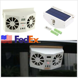 Ivory White Solar Powered Car Window Air Vent Cool Cooler Dual Fan Usa Shipping