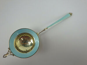 Antique Gornam Sterling Silver Guilloche Enamel Tea Strainer 935 Nice