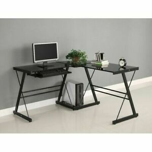 Black Metal L shaped Corner Computer Desk With Glass Top