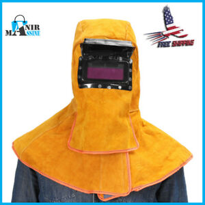 Leather Solar Auto Darkening Filter Lens Protect Welding Neck Mask Helmet