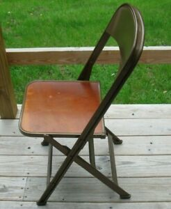Vintage Metal And Wood Folding Chair Made By Clarin Mfg Co Chicago Illinois D