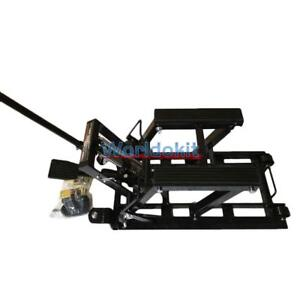 Motorcycle Lift Jack 1500lbs 680kg Hydraulic Atv Stand Tools Table Bench New