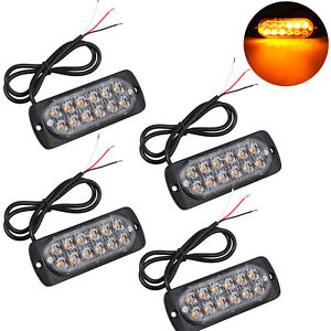 4pcs 12 Led Strobe Flash Light Amber Car Truck Emergency Warning Lamp Hazard New
