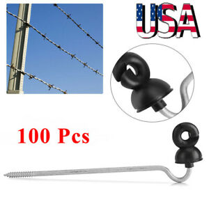 100pcs Wood Post Ring Insulator Tape Screw In Electric Fencing Fence Cord Wire