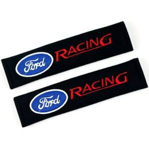 2x Ford Racing Embroidery Logo Cotton Car Seat Belt Shoulder Pads Cover Cushion