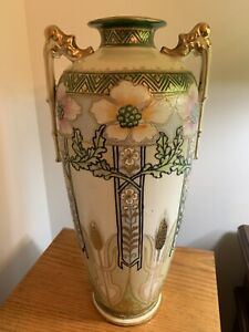 Antique Ie Co Japan Hand Painted Double Handled Vase 14 5 Tall Magnificent