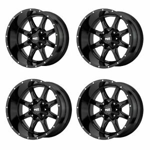 Set 4 20 Moto Metal Mo970 20x9 8x180 Gloss Black Chevy Gmc Truck Wheels 0mm
