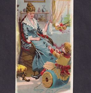 Belding Sewing Thread 1800 S Mother Knitting Basket Spool Victorian Trade Card