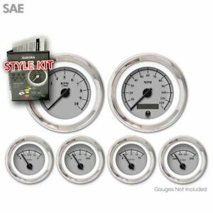 Gauge Face Set Sae Classic Retro Omega Gray Black Modern Needles Chrome Trim Gm