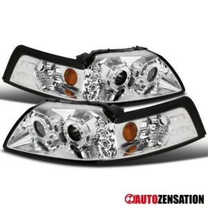 For 1999 2004 Ford Mustang Dual Halo Led Projector Headlights Head Lamps Pair