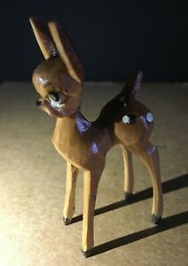 Vintage Swiss Hand Carved Mint Condition Wooden Miniature Deer