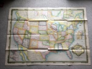 United States Continental Antique Or Vintage Map By Hammond 32 X 44