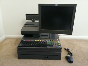 Ibm Touchscreen Cash Register With Printer Credit Card Keyboard And Mouse