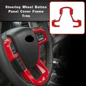 Fits Ford F150 2015 2017 Parts Abs Car Steering Wheel Trim Frame Cover Trim Red