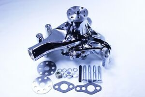 Small Block Chevy 283 350 400high Volume Aluminum Long Water Pump Sbc Chromed