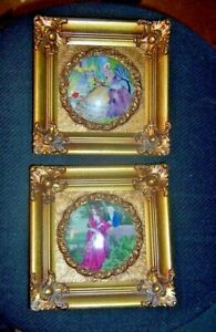 Vintage Hand Painted Porcelain Portrait Plaques Gilt Wood Frames Excellent
