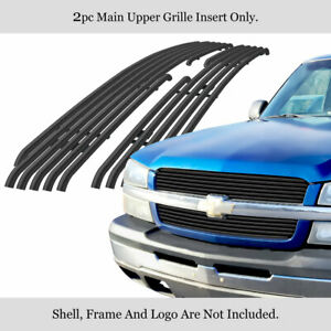 For 2002 2006 Chevy Silverado 1500 Avalanche Stainless Black Tubular Grille