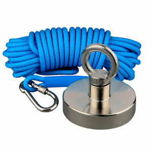 600lbs Strong Recovery Magnet 10m Rope Deep Sea Salvage Metal Detecting Fishing