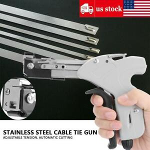 Stainless Steel Cable Tie Gun W 4 Levels Adjustable Tension Automatic Cutter