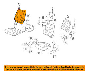 Honda Oem 07 08 Element Front Seat Cushion Cover Top Back Right 04811scvl00zc