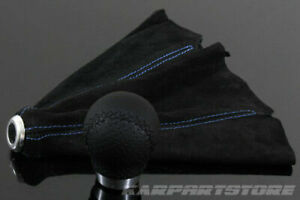 Custom Fit Round Black Leather Manual Shift Knob Blue Stitch Suede Shift Boot